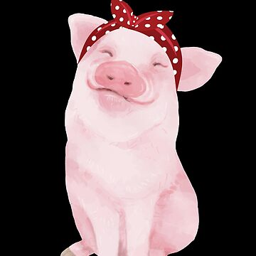 'Adorable Pig in a Bandana' Funny Pig Gift by leyogi