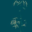 Oriental style artwork of light green bamboo stalk with bushy leaves on teal art print by AwenArtPrints