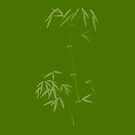Bamboo stalk with leaves artistic oriental style design in natural green colors art print by AwenArtPrints