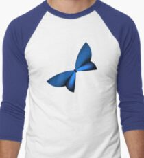 Blue Geometric Butterfly Men's Baseball ¾ T-Shirt