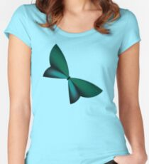 Teal / Turquoise Geometric Butterfly Women's Fitted Scoop T-Shirt