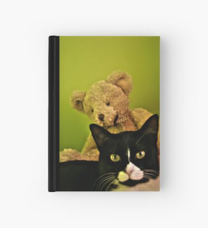 Big Teddy And Tuxedo Cat Hardcover Journal