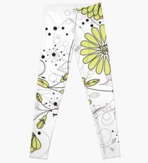 Doodle line drawing decorative flowers chartreuse Leggings