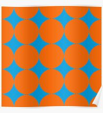 Diamond Brush Stroke Pattern (Blue Orange) Poster