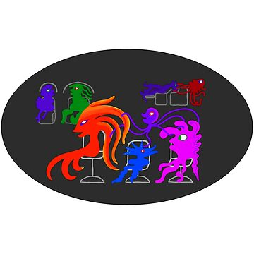 Happy Monsters in the Hair Salon - Black Oval Background  by GretaMonster
