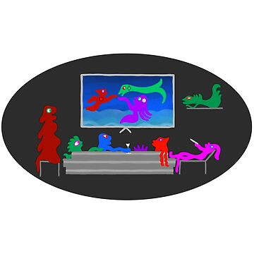 Happy Monsters Watching TV - Black Oval Background  by GretaMonster