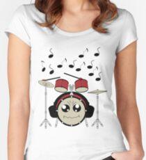 Schlagzeug mit Kopfhörer Tailliertes Rundhals-Shirt