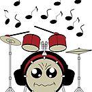 Schlagzeug mit Kopfhörer von Stefanie Keller