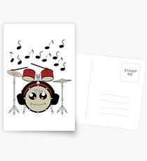 Schlagzeug mit Kopfhörer Postkarten