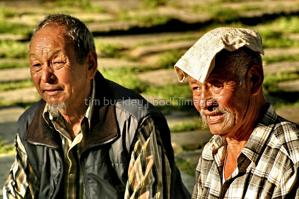 old men basking in the sun. northern india by tim buckley | bodhiimages