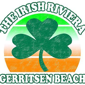 Gerritsen Beach Brooklyn NY, NYC The Irish Riviera Beach Funny Shamrock Retro by funnytshirtemp