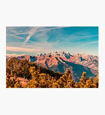 Sunny autumn day at the mount Tersadia in the italian alps Photographic Print