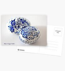 two traditional Czech Easter eggs with blue onion pattern  Postcards