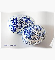 two traditional Czech Easter eggs with blue onion pattern  Poster