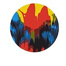 Tie Dye Autopainting - Primary Colors Rainbow painting design abstract composition by waygeek