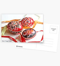 three traditional hand-painted  Czech Easter eggs with geometric designs Postcards