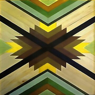 Navaho Vibes Geometric Pattern - Black Brown Yellow by taiche
