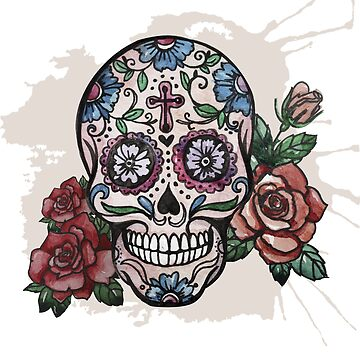 Flower Sugar Skull and Roses by Grampus