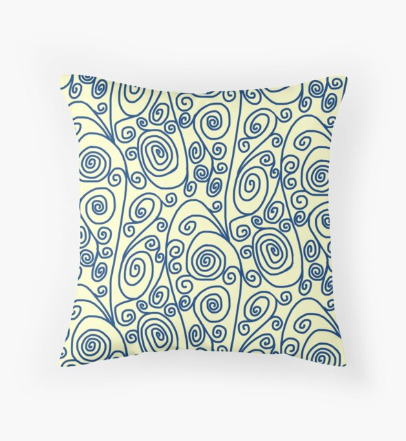 Blue Curls on Yellow Background by Gravityx9