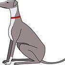 Greyhound sitting by Edward Picot