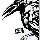 Crow (Ink on watercolor paper) by James  Guinnevan Seymour