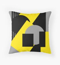 Geometrical abstract art deco mash-up gray yellow Throw Pillow