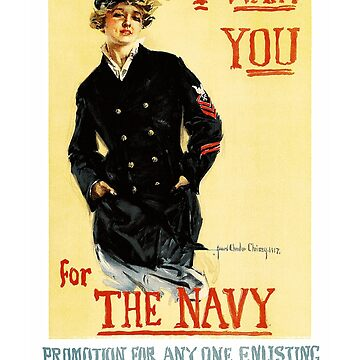 I Want You for the Navy - Vintage US Navy Recruiting Poster by Chunga