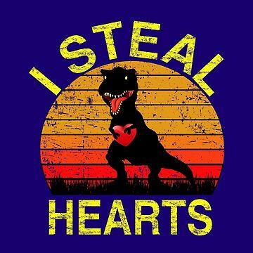 Boys Valentines Day Shirt Kids Dinosaur T rex I Steal Hearts by SamDesigner
