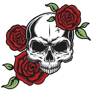 Roses and skull tattoo by Skullz23