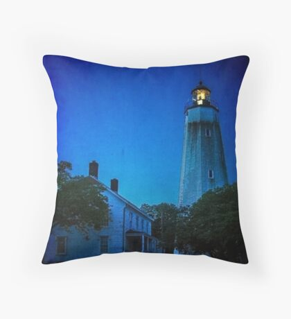 The Sandy Hook Lighthouse at Twilight Throw Pillow