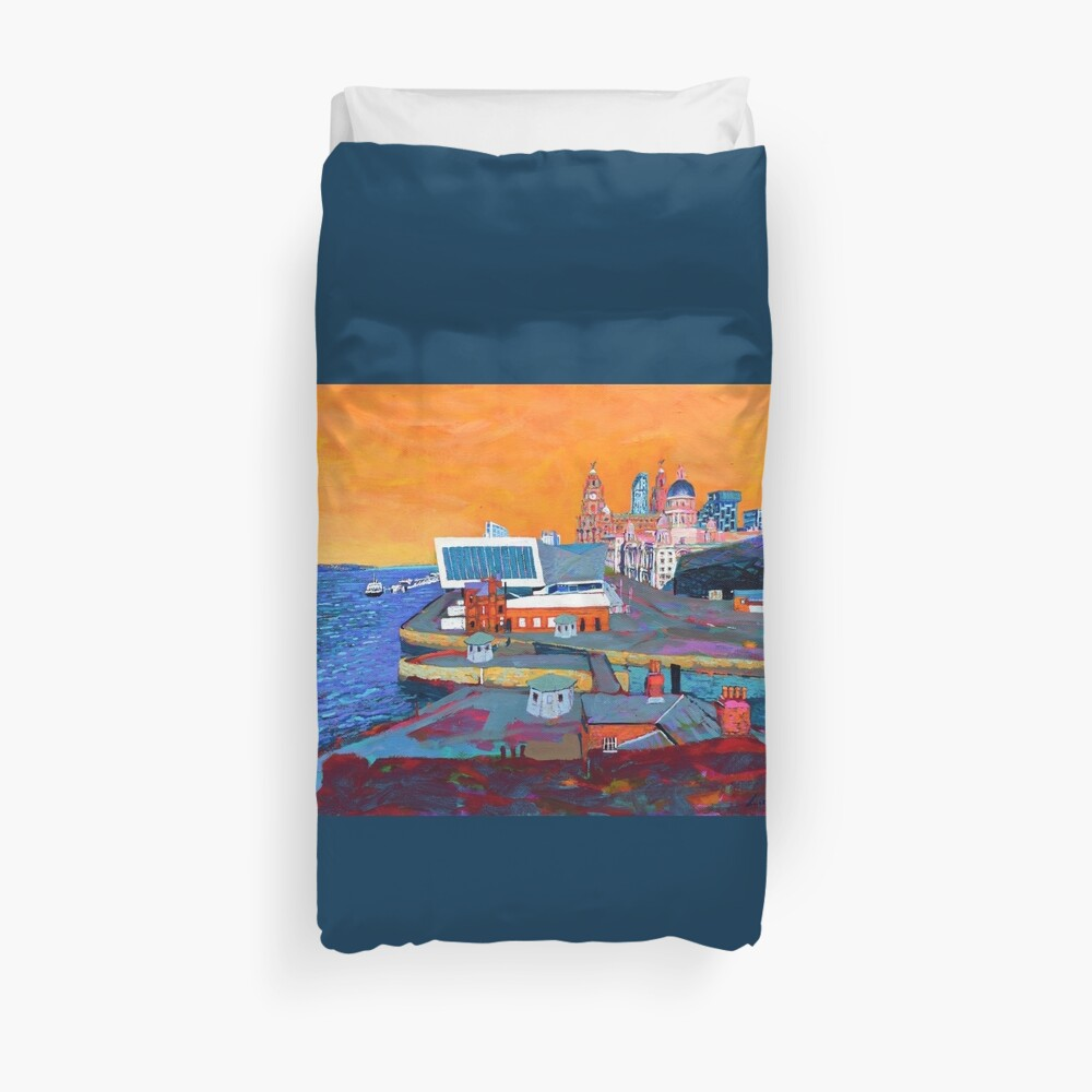 Liverpool: The Pier Head from the Tate Duvet Cover