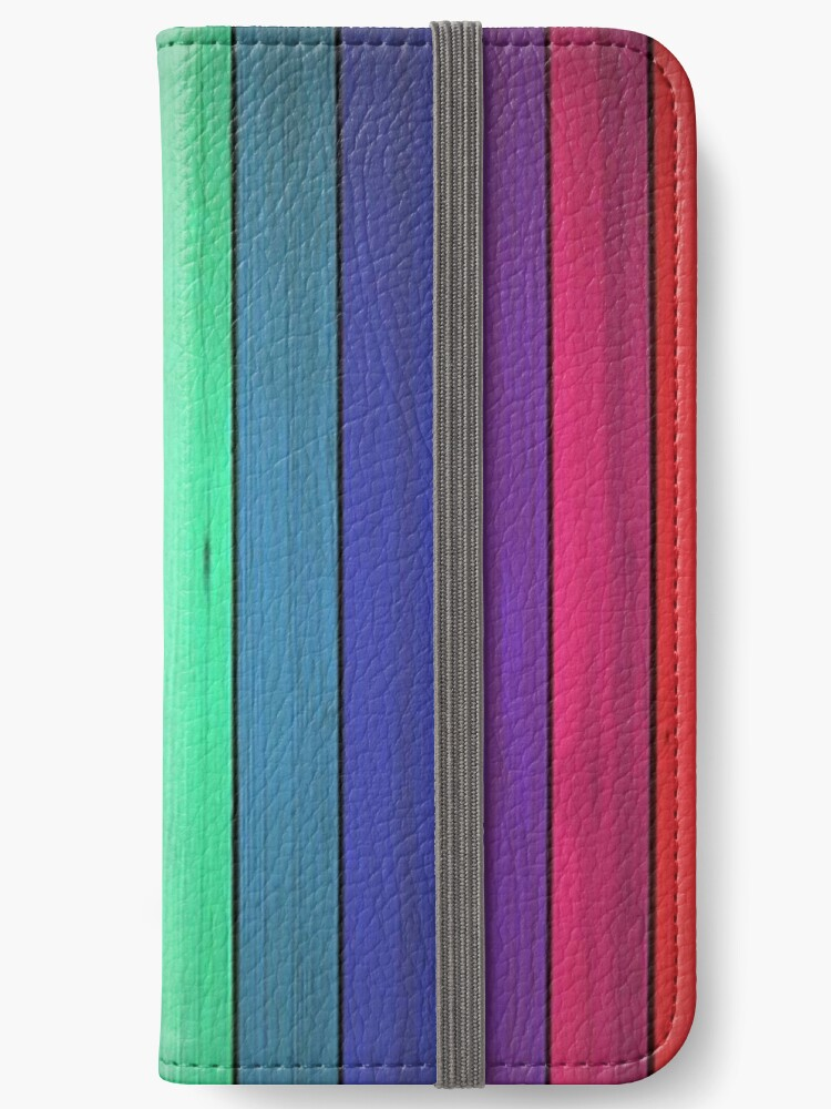 Vivid Wood Wall Painted Rainbow Colors Chakra Energetic Art Iphone Wallet By Love999