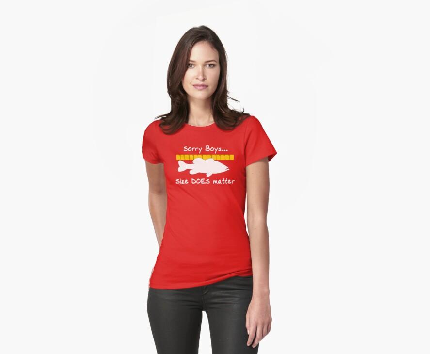 Sorry boys... Size does matter - Fishing T-shirt by Marcia Rubin