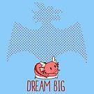 «Dream Big | chibi kawaii lindo dragón rojo» de PikachuRox