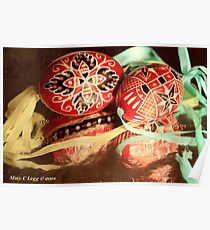 two beautiful red and black hand-painted Czech Easter eggs with  aqua and yellow ribbons Poster