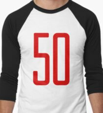 Tall red number 50 Men's Baseball ¾ T-Shirt