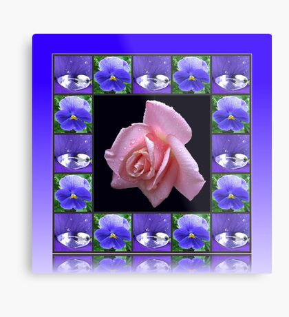 Sparkling Raindrops Floral Collage Metallbild