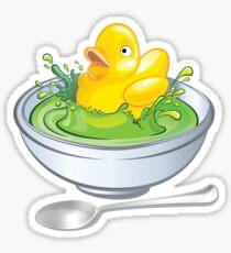 Souper Retro Gummiente-Suppenschüssel Sticker