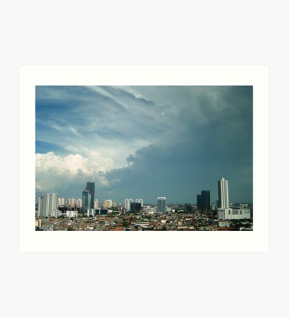 A tropical storm moves over the city Art Print