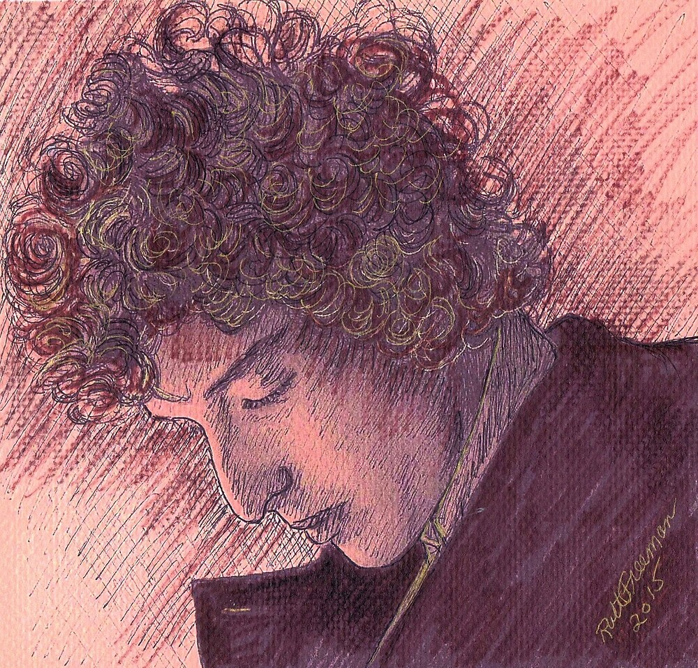 BOB DYLAN PORTRAIT IN INK by monaruth