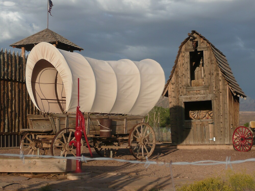 Quot Old Covered Wagon With Red Water Pump And Wheel Quot By