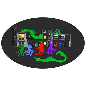 Happy Monsters on the City Street - Black Oval Background  by GretaMonster
