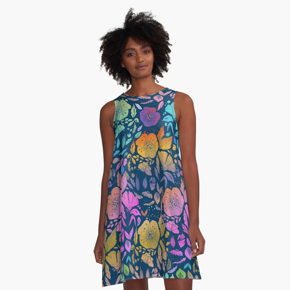 California Blossoms A-Line Dress Front