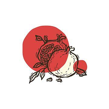 Pomegranates linocut by Zhivova
