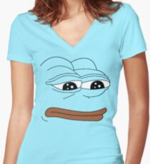 Pepe Face Women's Fitted V-Neck T-Shirt