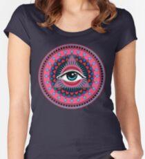 Auge der Vorsehung pink & blau Tailliertes Rundhals-Shirt