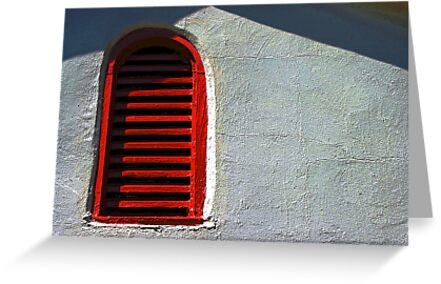 a vent painted red by Lynne Prestebak