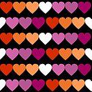 Neue orange rosa lesbische Flaggen-Herzen von EmilyGwen