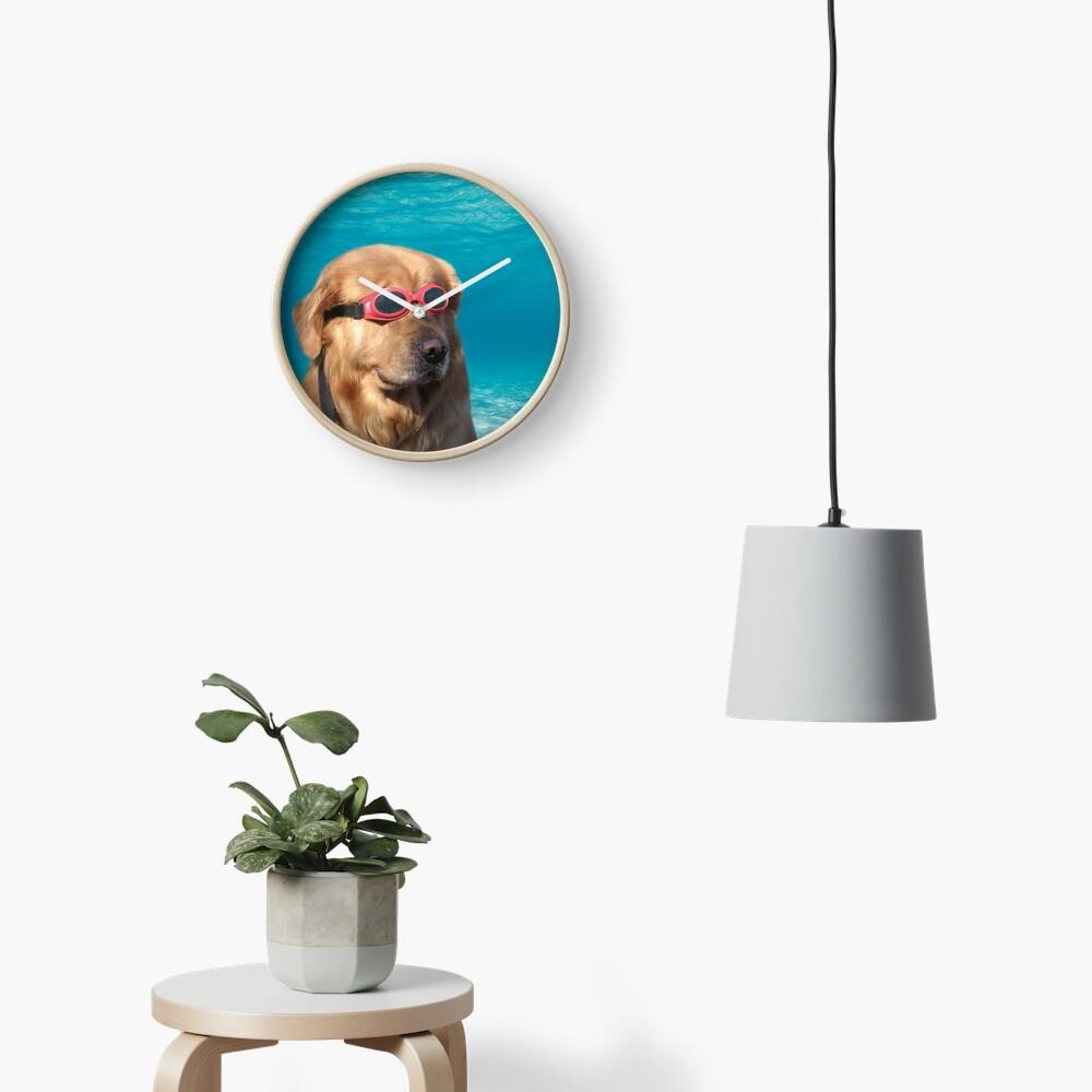 Swimmer Dog Clock