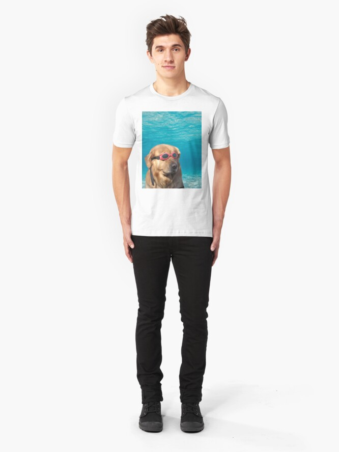 Alternate view of Swimmer Dog Slim Fit T-Shirt